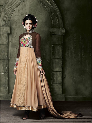 Stylish Brown and Beige Color Embroidered Georgette Anarkali Suit