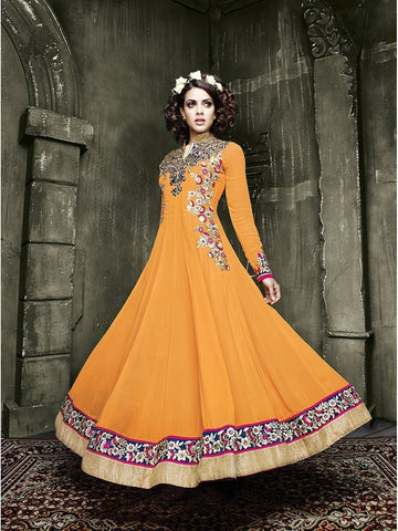 Stylish Yellow Color Mandarin Collar Embroidered Georgette Anarkali Suit