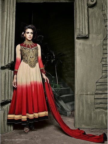 Stylish Cream and Red Shade Embroidered Georgette Anarkali Suit