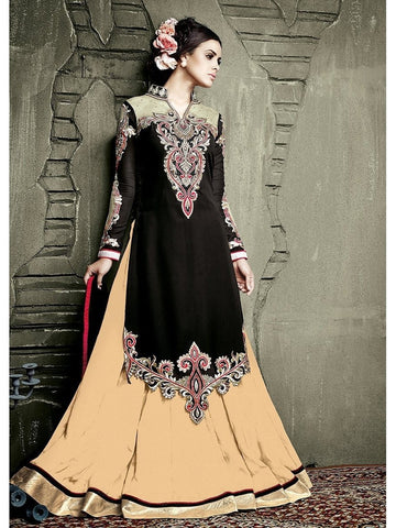 Stylish Black Color Embroidered Georgette Anarkali Suit