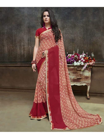 Designer Printed Red Georgette Saree