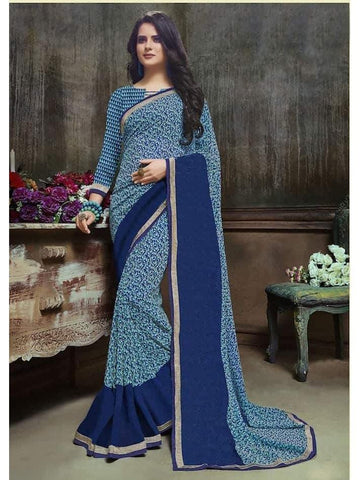 Designer Printed Blue Georgette Saree