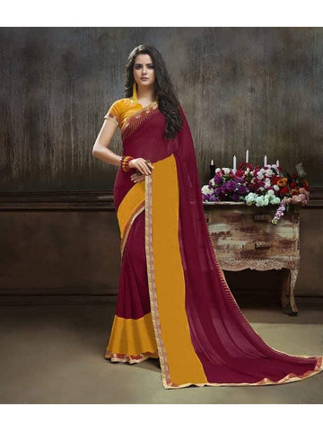 Designer Printed Wine and mustard Georgette Saree