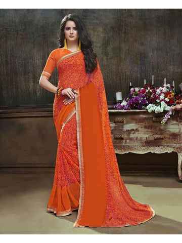 Designer Printed Orange Georgette Saree