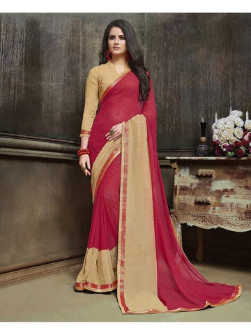 Designer Printed Pink and beige Georgette Saree