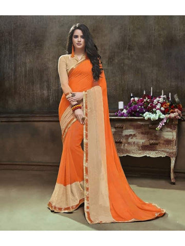 Designer Printed Orange and Beige Georgette Saree