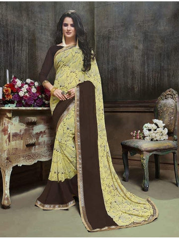 Designer Printed Yellow and Black Georgette Saree