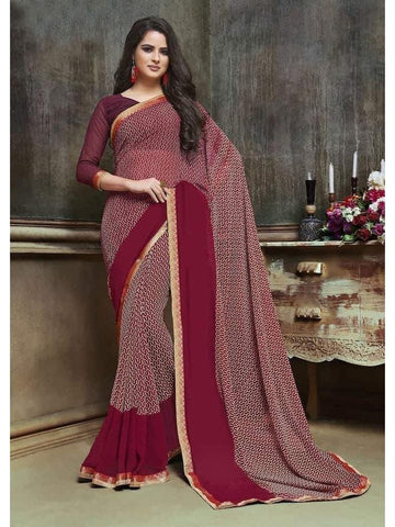 Designer Printed Wine Georgette Saree