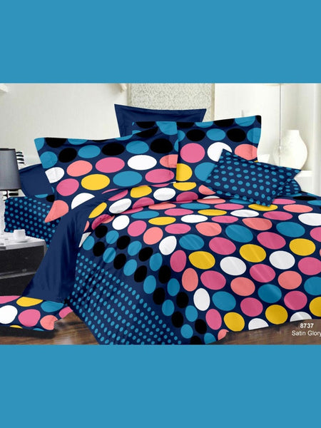 Blue and Multicolour Bedsheet