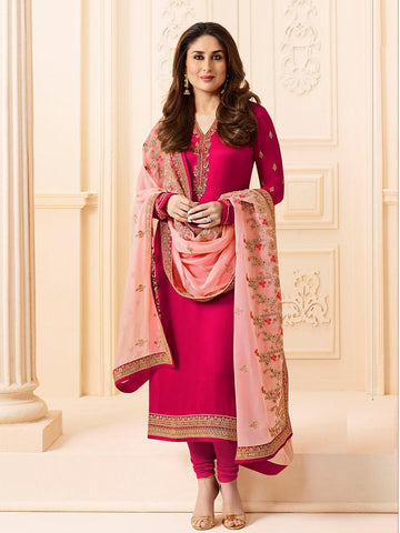 Kareena Style Pink Georgette+Satin Straight Cut Suit with Contrast Dupatta