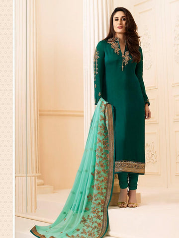 Kareena Style Green Georgette+Satin Straight Cut Suit with Contrast Dupatta