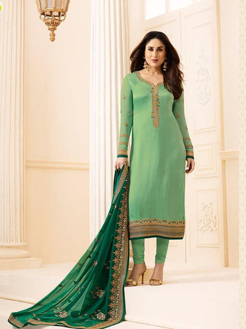 Kareena Style Pista Green Georgette+Satin Straight Cut Suit with Contrast Dupatta