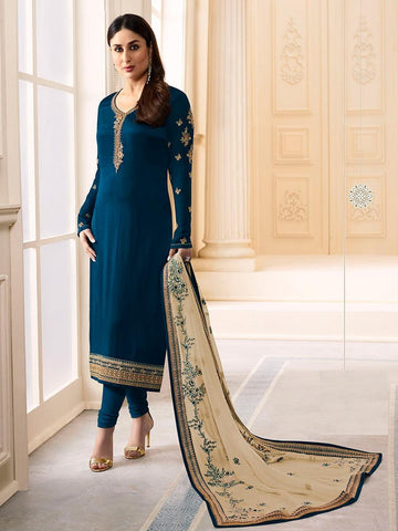 Kareena Style Blue Georgette+Satin Straight Cut Suit with Contrast Dupatta