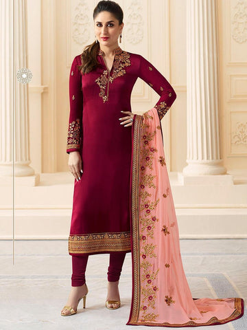 Kareena Style Wine Georgette+Satin Straight Cut Suit with Contrast Dupatta