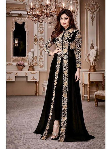 Designer Heavy Georgette Black Codding Embroidery & Digital Stone Overlay Suit