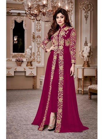 Designer Heavy Georgette Wine Codding Embroidery & Digital Stone Overlay Suit