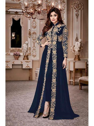 Designer Heavy Georgette Blue Codding Embroidery & Digital Stone Overlay Suit