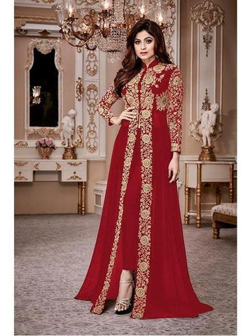 Designer Heavy Georgette Maroon Codding Embroidery & Digital Stone Overlay Suit