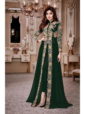 Designer Heavy Georgette Green Codding Embroidery & Digital Stone Overlay Suit