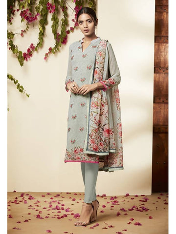 Pakistani Style Georgette Gray Color Straight Cut Suit