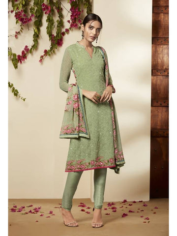 Pakistani Style Georgette Green Color Straight Cut Suit