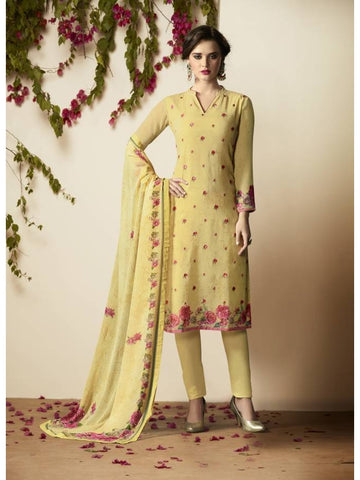 Pakistani Style Georgette Yellow Color Straight Cut Suit