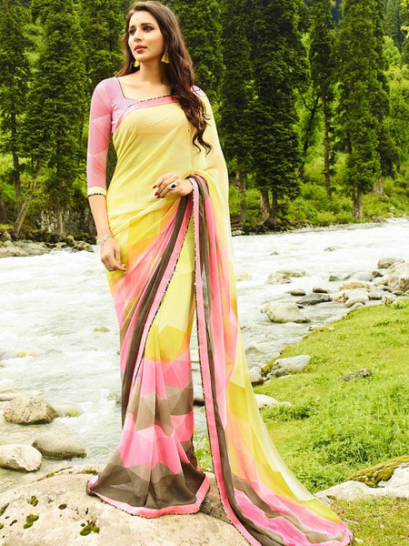 Lemon Yellow and Pink Georgette Saree - PurpleTulsi.com  - 1