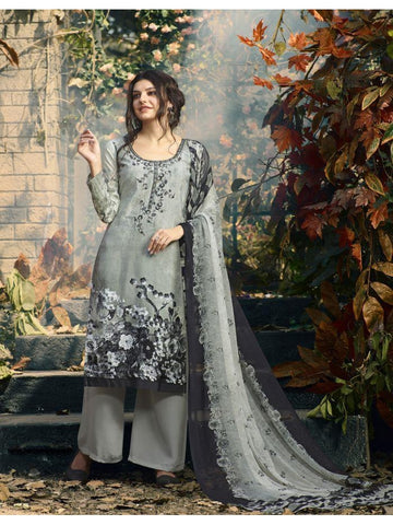 Designer Partywear Grey Color Crepe Straight Cut Suit