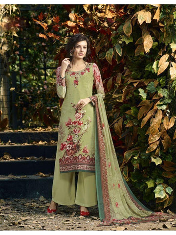 Designer Partywear Green Color Crepe Straight Cut Suit