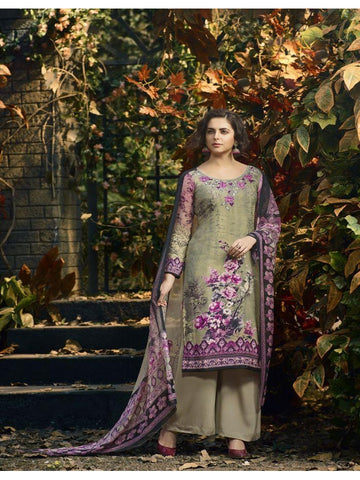 Designer Partywear Purple & Beige Color Crepe Straight Cut Suit