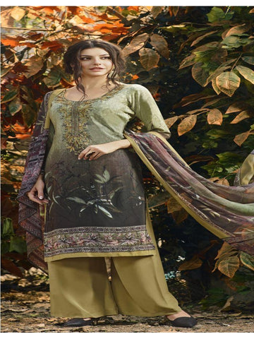 Designer Partywear Multi Color Crepe Straight Cut Suit