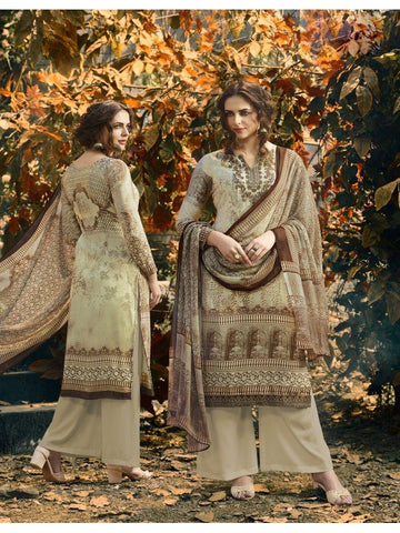 Designer Partywear Brown Color Crepe Straight Cut Suit