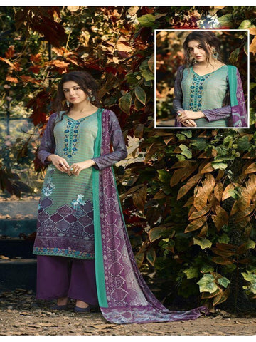 Designer Partywear Blue & Purple Color Crepe Straight Cut Suit