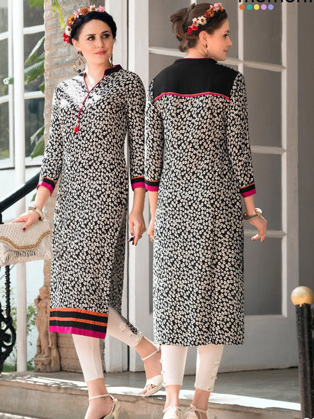 Black and White Rayon Kurti