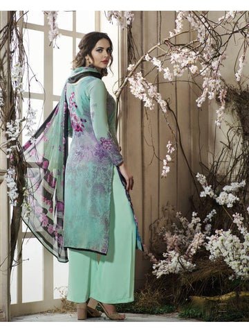 Pakistani Designer Partywear Green Color printed Straight Cut Suit