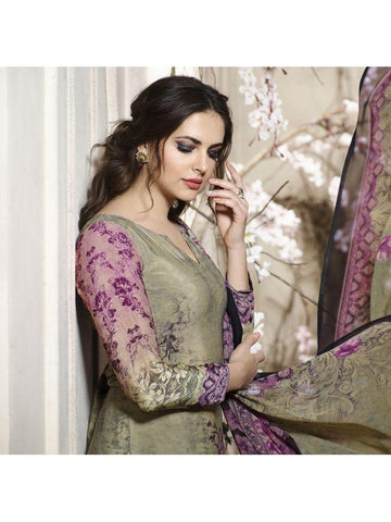 Pakistani Designer Partywear Green multi Color printed Straight Cut Suit