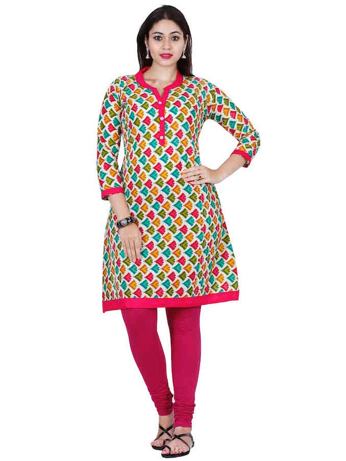 Multicolour Cotton Kurti - PurpleTulsi.com