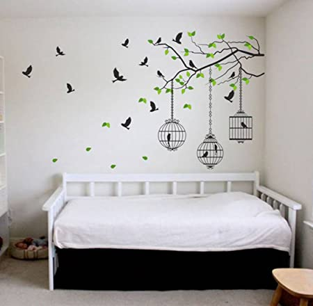 Attractive Wall Stickers Tree Branches with Leaves Birds and Cages