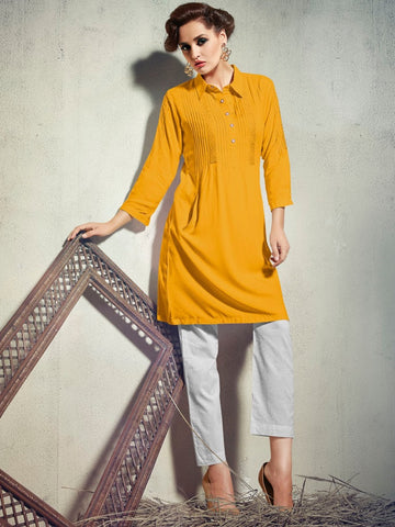 Fire Yellow Rayon Kurti - PurpleTulsi.com