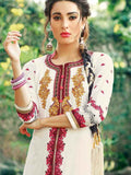 Off White and Coral Pink Patiala Suit - PurpleTulsi.com