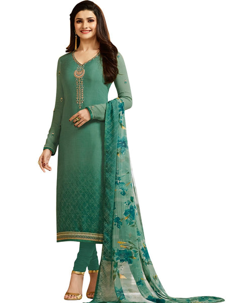 Designer Green Neck Embroidered Long Straight Suit