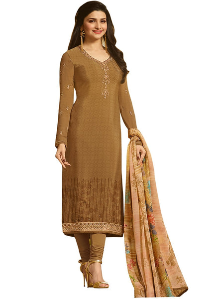 Designer Brown Neck Embroidered Long Straight Suit