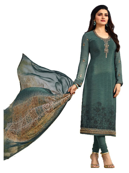 Designer Turquoise Neck Embroidered Long Straight Suit