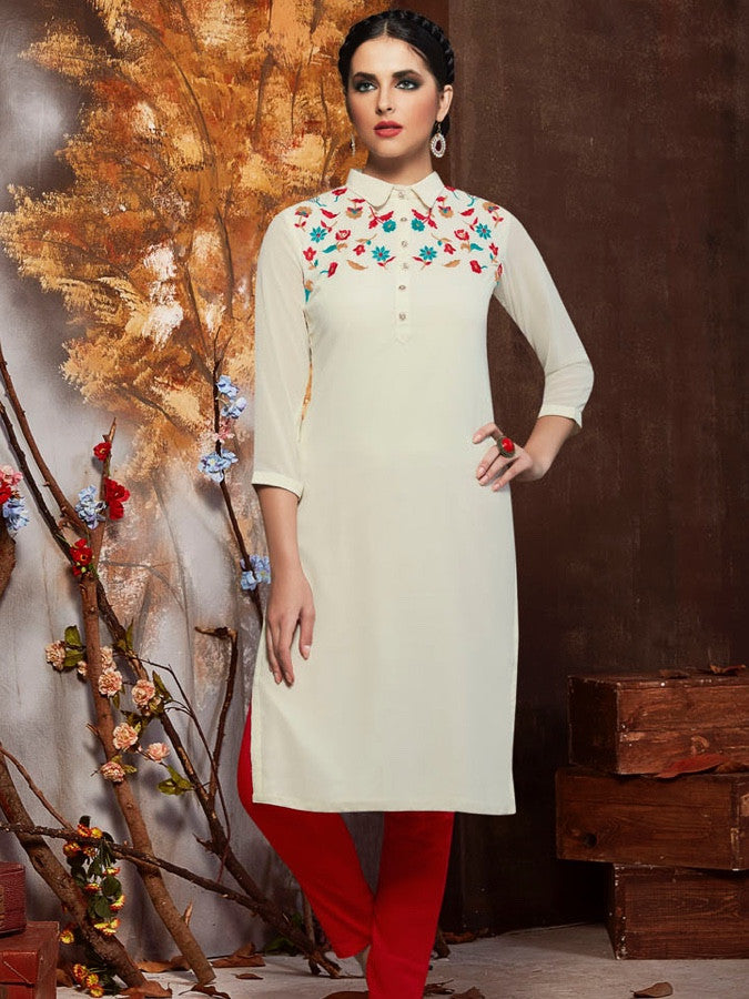 White Georgette Kurti With Shantoon Inner - PurpleTulsi.com  - 1