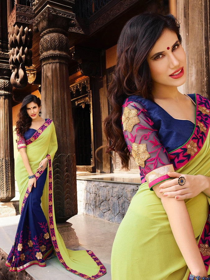 Lime Green and Indigo Blue Georgette Saree - PurpleTulsi.com