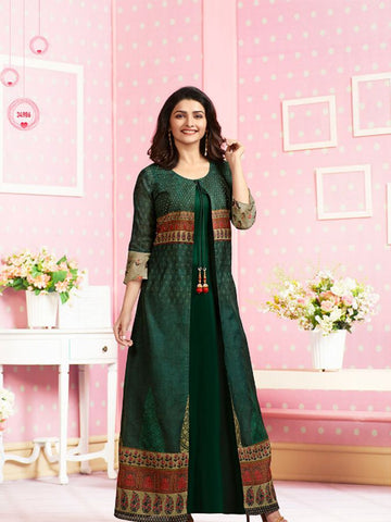 Designer Party Wear Multicolor Color Crepe Kurti