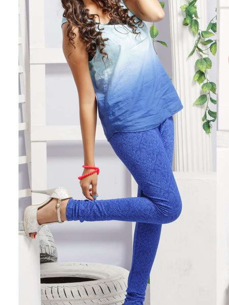Blue Jacqard Leggings - PurpleTulsi.com