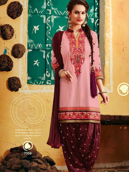 Baby Pink and Maroon Patiala Suit - PurpleTulsi.com