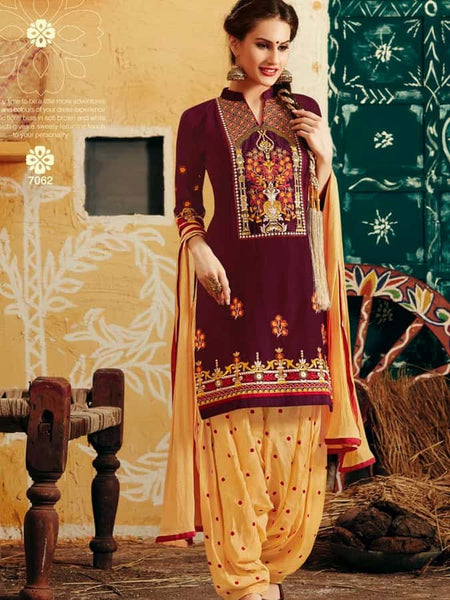 Violet and Yellow Patiala Suit - PurpleTulsi.com