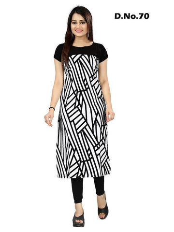 Black and White Digital Printed Crepe Straight Cut Kurti